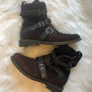 Rag & Bone brown suede motorcycle boots w/ buckles